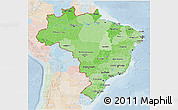 Political Shades 3D Map of Brazil, lighten