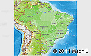 Political Shades 3D Map of Brazil, physical outside