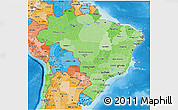 Political Shades 3D Map of Brazil