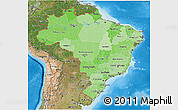 Political Shades 3D Map of Brazil, satellite outside, bathymetry sea