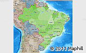 Political Shades 3D Map of Brazil, semi-desaturated, land only