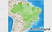 Political Shades 3D Map of Brazil, shaded relief outside, bathymetry sea