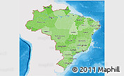 Political Shades 3D Map of Brazil, single color outside