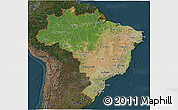 Satellite 3D Map of Brazil, darken