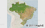 Satellite 3D Map of Brazil, lighten