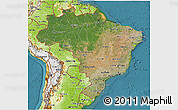 Satellite 3D Map of Brazil, physical outside, satellite sea