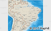 Shaded Relief 3D Map of Brazil