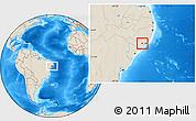 Shaded Relief Location Map of Boca de Mata