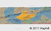 Political Panoramic Map of Mata Grande, semi-desaturated
