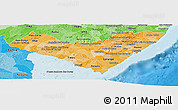 Political Shades Panoramic Map of Alagoas