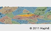Political Panoramic Map of Poco das Trinche, semi-desaturated