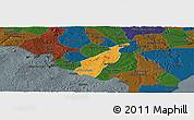 Political Panoramic Map of Porto Real do C., darken