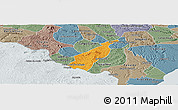 Political Panoramic Map of Porto Real do C., semi-desaturated