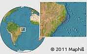 Satellite Location Map of S Luis do Quitun