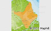 Political Shades Map of Amapa, physical outside