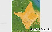 Political Shades Map of Amapa, satellite outside