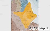 Political Shades Map of Amapa, semi-desaturated