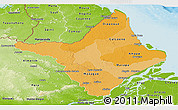 Political Shades Panoramic Map of Amapa, physical outside