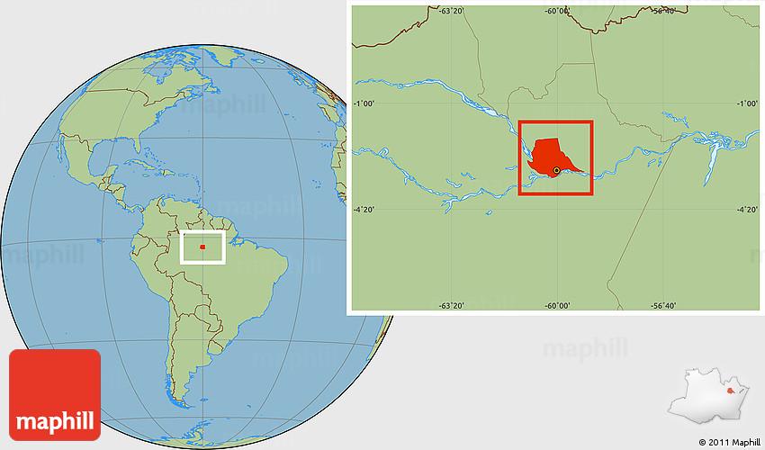 Savanna Style Location Map of Manaus