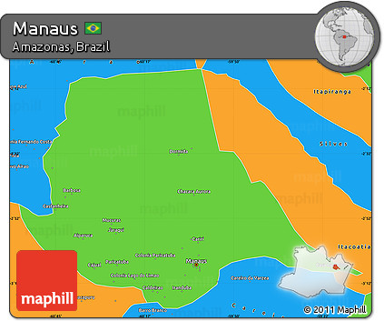 Free Political Simple Map of Manaus