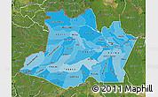Political Shades Map of Amazonas, satellite outside