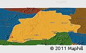 Political Panoramic Map of Casa Nova, darken