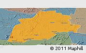 Political Panoramic Map of Casa Nova, semi-desaturated