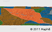Political Panoramic Map of Jeremoabo, darken