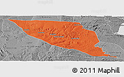 Political Panoramic Map of Jeremoabo, desaturated