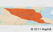 Political Panoramic Map of Jeremoabo, lighten