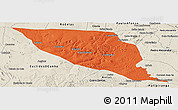 Political Panoramic Map of Jeremoabo, shaded relief outside