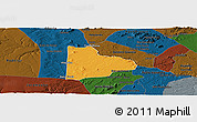 Political Panoramic Map of Paulo Afonso, darken