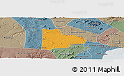 Political Panoramic Map of Paulo Afonso, semi-desaturated