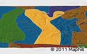 Political Panoramic Map of Rodelas, darken