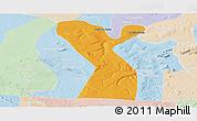 Political Panoramic Map of Rodelas, lighten