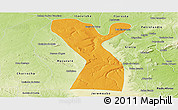 Political Panoramic Map of Rodelas, physical outside