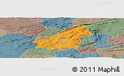 Political Panoramic Map of Assare, semi-desaturated