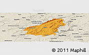 Political Panoramic Map of Assare, shaded relief outside