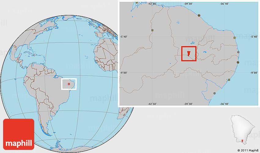 Gray Location Map Of Crato - Crato map