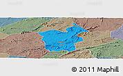 Political Panoramic Map of Saboeiro, semi-desaturated