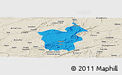 Political Panoramic Map of Saboeiro, shaded relief outside