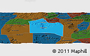 Political Panoramic Map of Santana do Carir, darken
