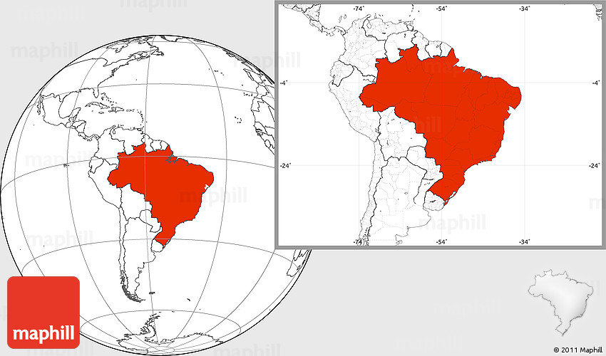 Blank Location Map of Brazil