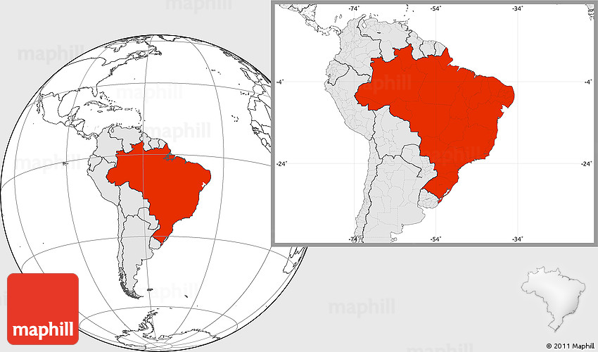 Blank location map of brazil highlighted continent 2d gumiabroncs Choice Image