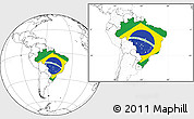 Flag Location Map of Brazil, blank outside