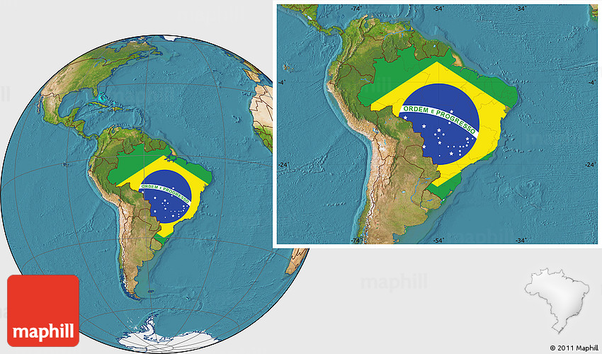 Flag Location Map of Brazil, satellite outside