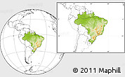 Physical Location Map of Brazil, blank outside