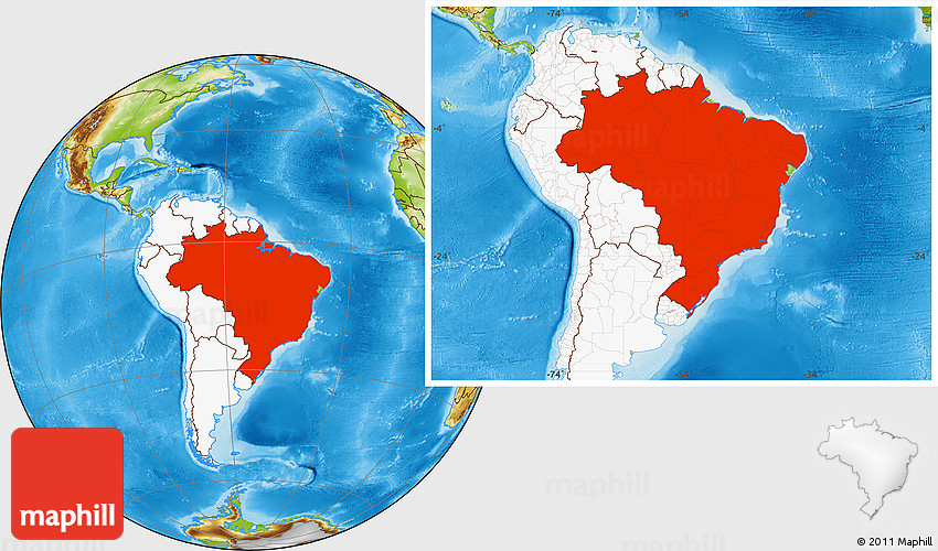 Physical location map of brazil highlighted continent gumiabroncs Choice Image