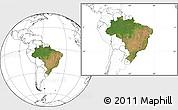 Satellite Location Map of Brazil, blank outside