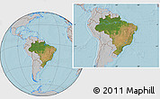 Satellite Location Map of Brazil, gray outside, hill shading